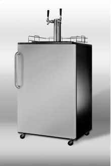 Freestanding beer dispenser for commercial use with black cabinet, stainless steel door, towel bar handle, and dual tap system