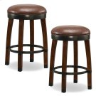 Sienna Wood Cask Stave Counter Height Stool with Sable Faux Leather Seat #10118SN/SB - Set of 2 Product Image