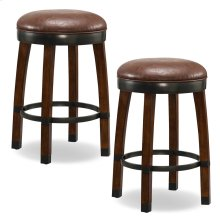 Sienna Wood Cask Stave Counter Height Stool with Sable Faux Leather Seat #10118SN/SB - Set of 2
