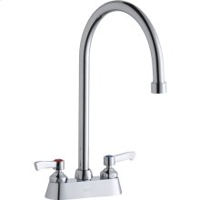 """Elkay 4"""" Centerset with Exposed Deck Faucet with 8"""" Gooseneck Spout 2"""" Lever Handles Chrome"""