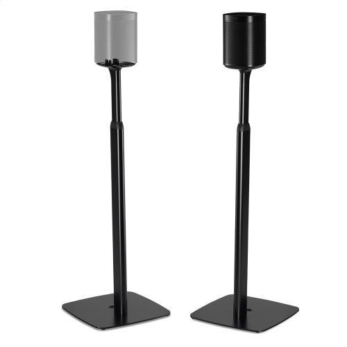 Black- Pair of secure and adjustable floor stands for home cinema surrounds.