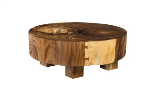 Chamcha Wood Freeform Coffee Table, Round, Thick Slab