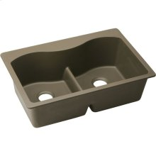 """Elkay Quartz Classic 33"""" x 22"""" x 9-1/2"""", Equal Double Bowl Drop-in Sink with Aqua Divide, Mocha"""