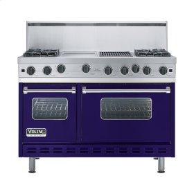 """Cobalt Blue 48"""" Open Burner Range - VGIC (48"""" wide, four burners 12"""" wide griddle/simmer plate 12"""" wide char-grill)"""