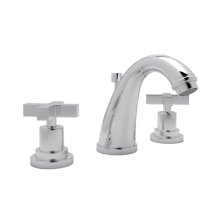 Polished Chrome Lombardia C-Spout Widespread Lavatory Faucet with Cross Handle
