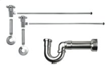 "Lavatory Supply Kit w/ Massachusetts P-Trap - Angle - Cross Handle - 1/2"" Female IPS Inlet x 3/8"" O.D. Compression Outlet - Polished Brass"