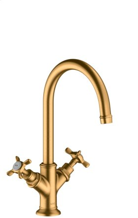 Brushed Gold Optic 2-handle basin mixer 210 with cross handles and waste set