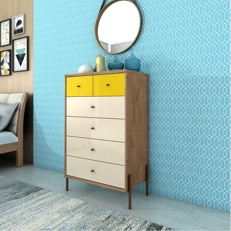 """Joy 48.43"""" Tall Dresser with 6 Full Extension Drawers in Yellow and Off White"""