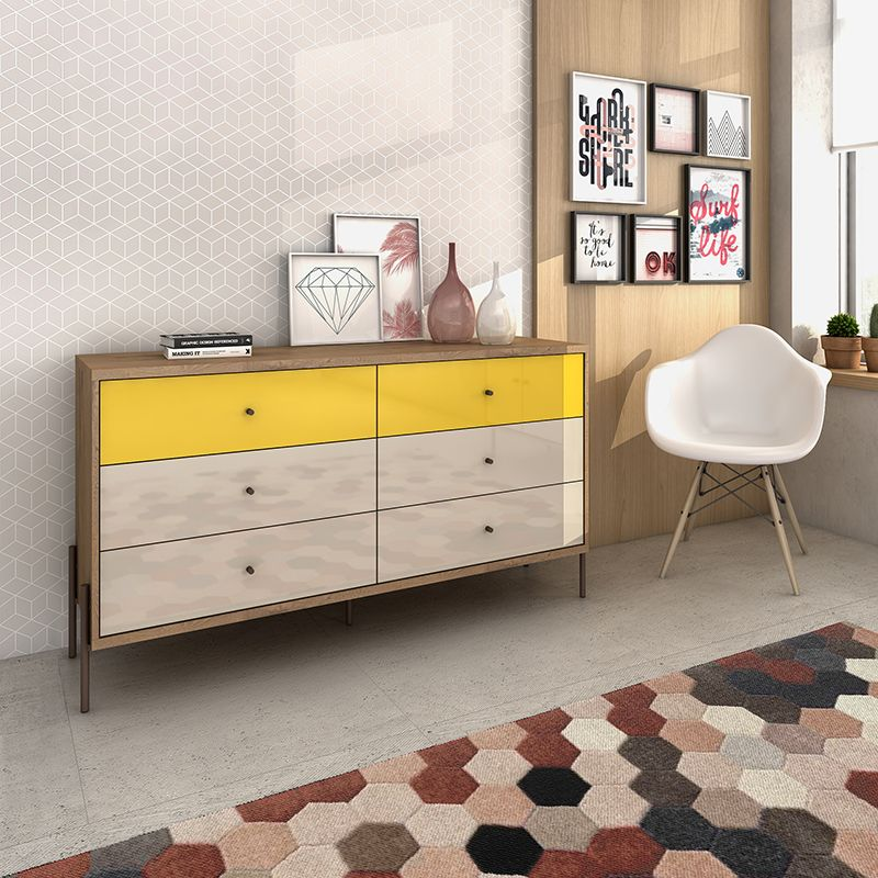 """Joy 59"""" Wide Double Dresser with 6 Full Extension Drawers in Yellow and Off White"""