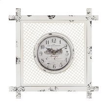 Vintage style clock in square mesh frame.