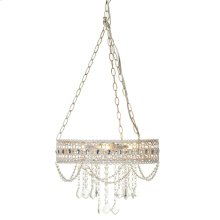 White with Gold Brush Hanging Filigree 3-Light Chandelier. 25W Max. Plug-in with Hard Wire Kit Included.