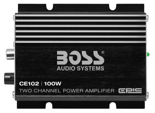 "Chaos Epic 100W 2 Channel Full Range, Class A/B Amplifier Dimensions 4""L 3.13""W 1.83""H"