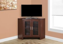 "TV STAND - 42""L / WARM CHERRY CORNER WITH GLASS DOORS"