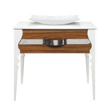 Natasha Collection Black Limba White Gloss Vanity With Terrazzo Countertop and Above-counter Vitreous Lavatory