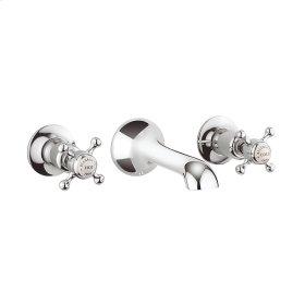 Belgravia Crosshead Wall Mounted Widespread Lavatory Faucet Trim - Polished Chrome