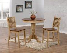 """Sunset Trading 3 Piece Brook 36"""" Round Pub Table Set with Slat Back Stools - Sunset Trading"""