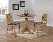 "Sunset Trading 3 Piece Brook 36"" Round Pub Table Set with Slat Back Stools - Sunset Trading"
