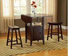 Wenge Drop Leaf Counter with Stools 3Pc