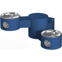 Elkay Outdoor Drinking Fountain Wall Mount, Bi-Level, Non-Filtered Non-Refrigerated, Blue