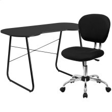 Black Computer Desk and Mesh Chair
