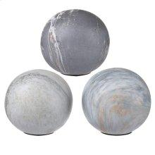 S/3 Marbleized Balls,Soft Gray