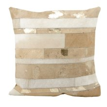 """Natural Leather Hide S1160 Beige 1'8"""" X 1'8"""" Throw Pillow"""