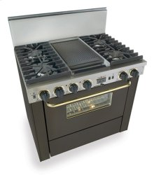 """36"""" Dual Fuel, Convect, Self-Clean, Sealed Burners, Black with Brass"""