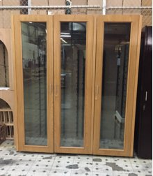 Custom Wood Wine Cabinet with 3 Glass Doors (Scratch n Dent)