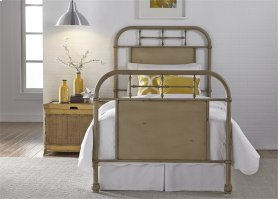 Twin Metal Bed - Vintage White