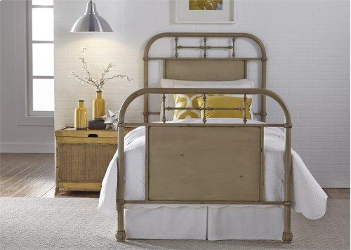 Twin Metal Bed - Vintage White