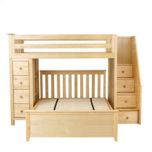 All in One Staircase Loft Bed Storage   Full Bed Natural