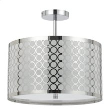 60W X 3 MADRID METAL FRAMED DRUM SEMI FLUSH PENDANT FIXTURE