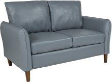 Milton Park Upholstered Plush Pillow Back Loveseat in Gray Leather