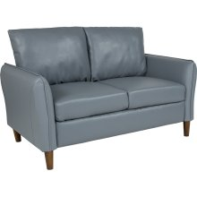Milton Park Upholstered Plush Pillow Back Loveseat in Gray Leather