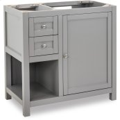 """This 35-1/2"""" vanity has a grey finish, satin nickel hardware and clean lines with a stepped door profile."""
