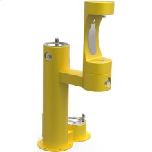 Elkay Outdoor EZH2O Bottle Filling Station Bi-Level, Pedestal with Pet Station Non-Filtered Non-Refrigerated Yellow