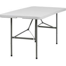 30''W x 60''L Bi-Fold Granite White Plastic Folding Table