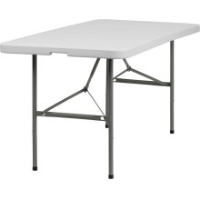 30''W x 60''L Bi-Fold Granite White Plastic Folding Table