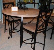 SANFORD METAL AND WEATHERED OAK PUB TABLE