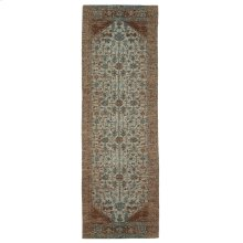 Tan & Turquoise Antique Wash 2'x6' Jacquard Rug.
