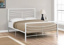 BED - QUEEN SIZE / WHITE METAL FRAME ONLY