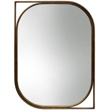 Left Facing Gold Mirror  35in X 26in X 1in  Metal Wall Mirror