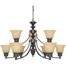 9-Light 2-Tier Chandelier in Mahogany Bronze Finish with Champagne Linen Glass