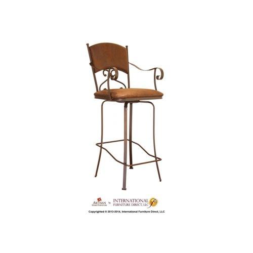 "24"" Swivel Barstool w/Arms -Brown Microfiber Seat & back"