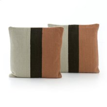 Square Style Block Stripe Rust Pillow, Set of 2