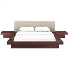 Freja 3 Piece Queen Fabric Bedroom Set in Walnut Beige