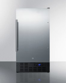 "18"" Wide Built-in Undercounter All-refrigerator With A Stainless Steel Door, Black Cabinet, Digital Thermostat and Front Lock"