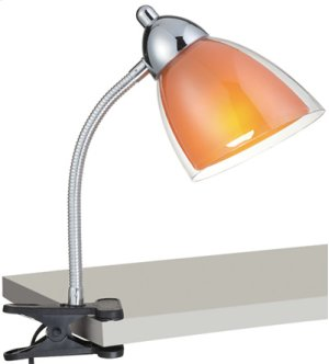 Clip-on Lamp, Chrome, Orange Acrylic Shade, E27 Cfl 13w