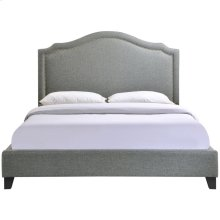 Charlotte Queen Upholstered Fabric Bed in Gray