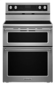 SAVE $800 FOR THIS SLIGHTLY USED  FULL WARRANTY -30-Inch 5 Burner Electric Double Oven Convection Range - Stainless Steel - CUSTOMER DID NOT LIKE DOUBLE OVENS/MISSED BOTTOM STORAGE DRAWER.